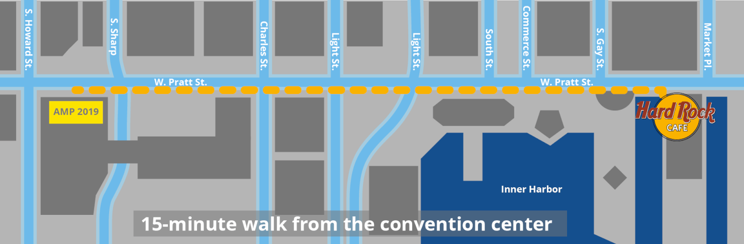Map showing walking path from AMP convention center to the Hard Rock Cafe, where the party was held