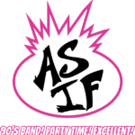 "Logo for the 90's cover band ""As If"""