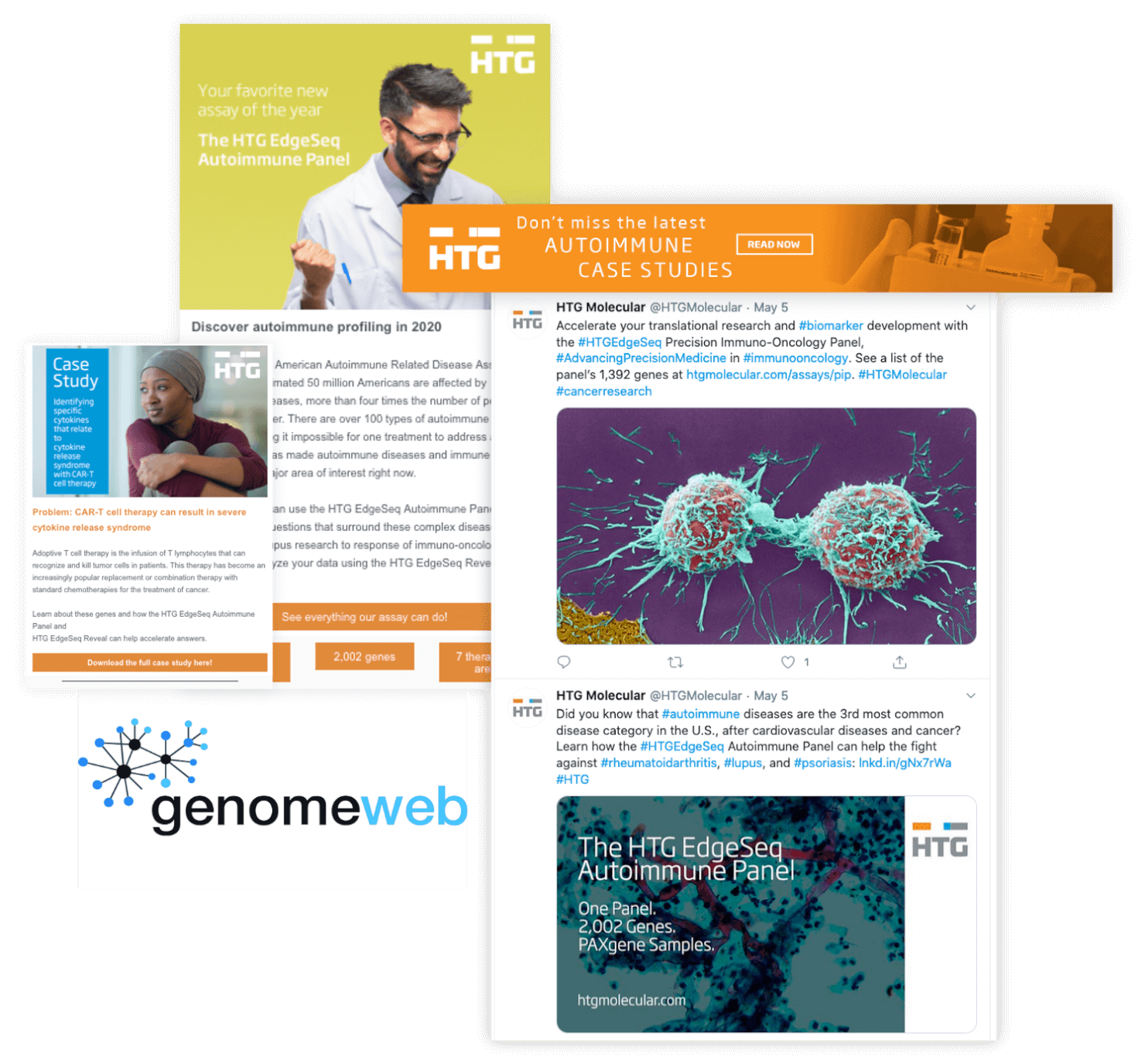 HTG Molecular campaign advertising assets, including a thumbnails of emails, tweets, and banner ad